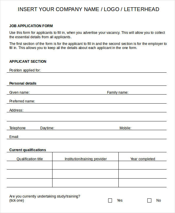 Blank Job Application   8+ Free Word, PDF Documents Download