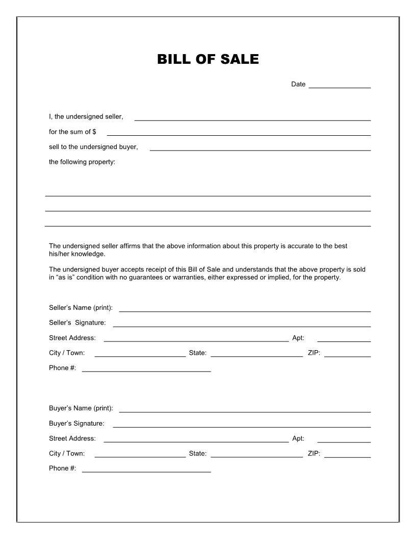 Free Printable Rv Bill of Sale Form Form (GENERIC) | Sample