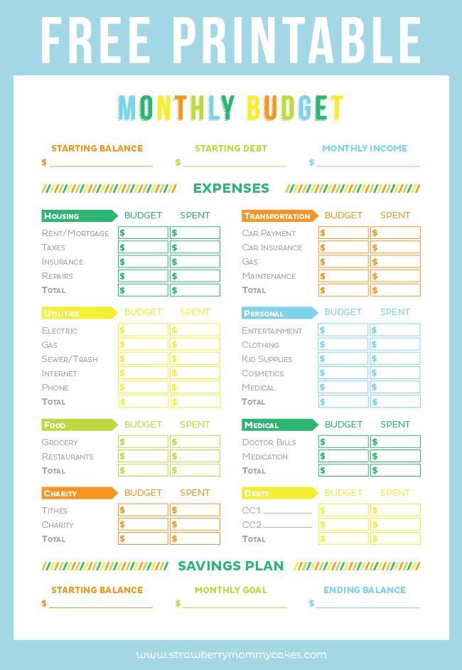 FREE Printable Budget Sheet | Best of Pinterest | Pinterest