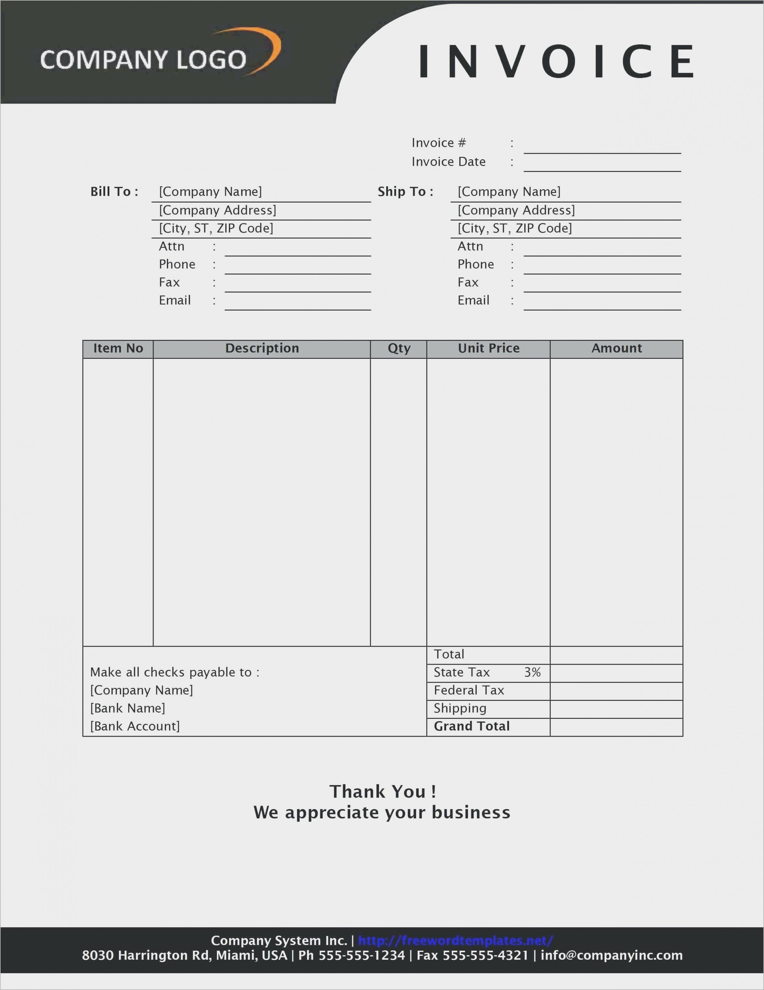 Free Sample Business Invoice Form Templates to Download