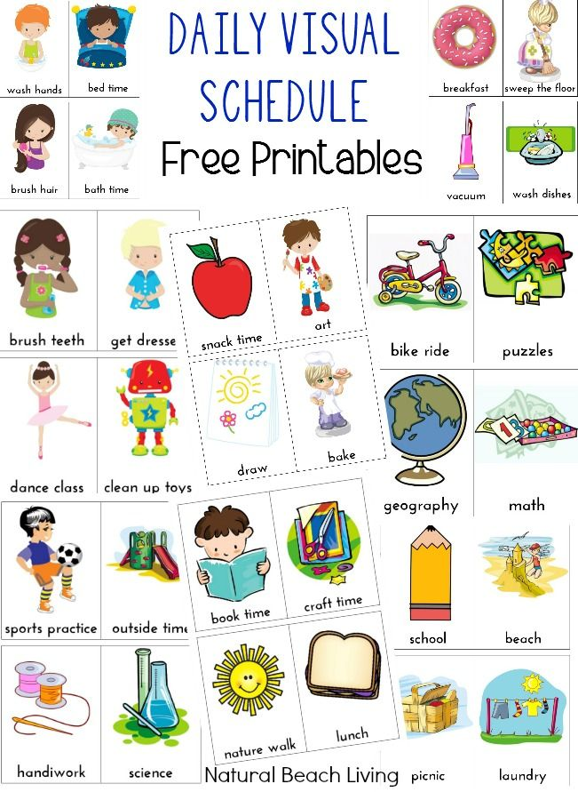 Daily Visual Schedule for Kids Free Printable   Natural Beach