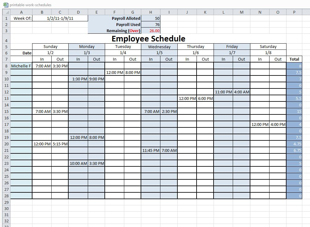 Free Printable Work Schedule | charlotte clergy coalition