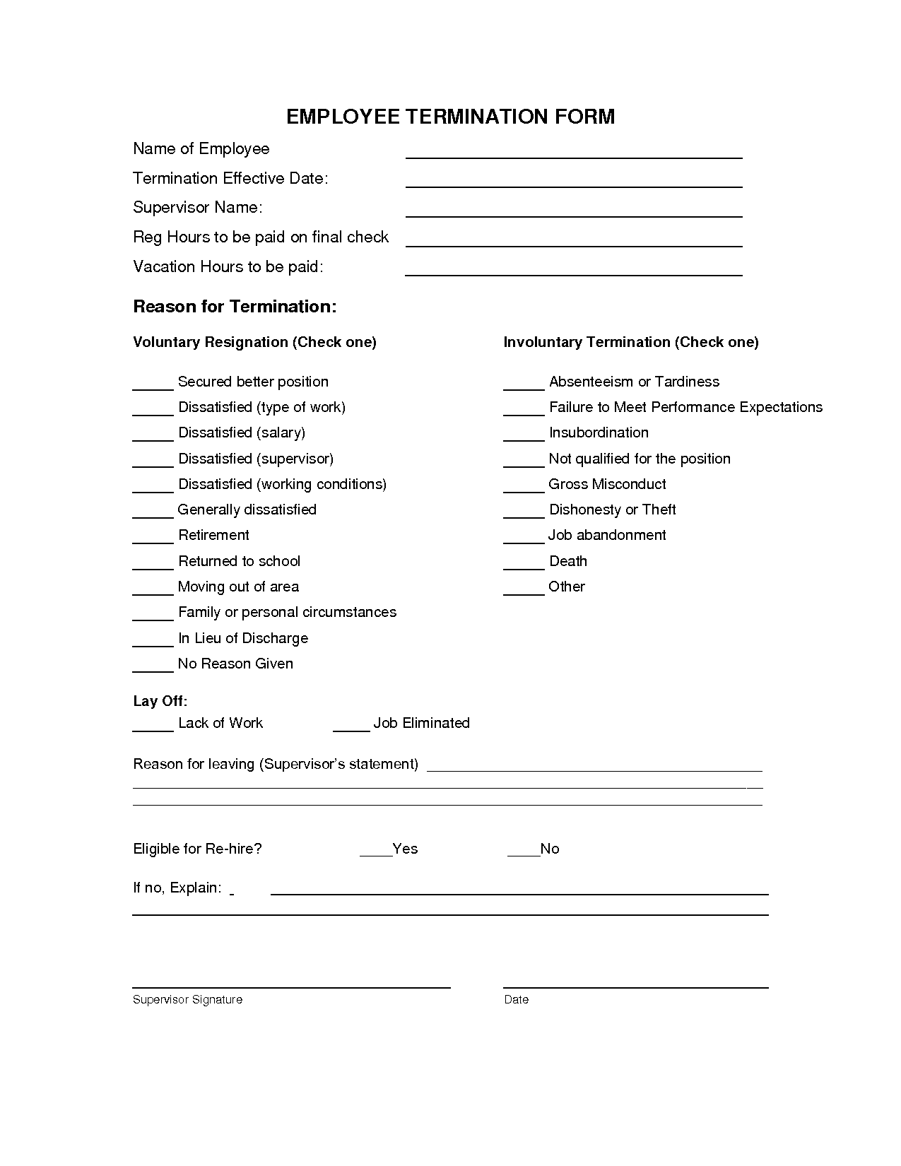 termination of employment form   Ibov.jonathandedecker.com