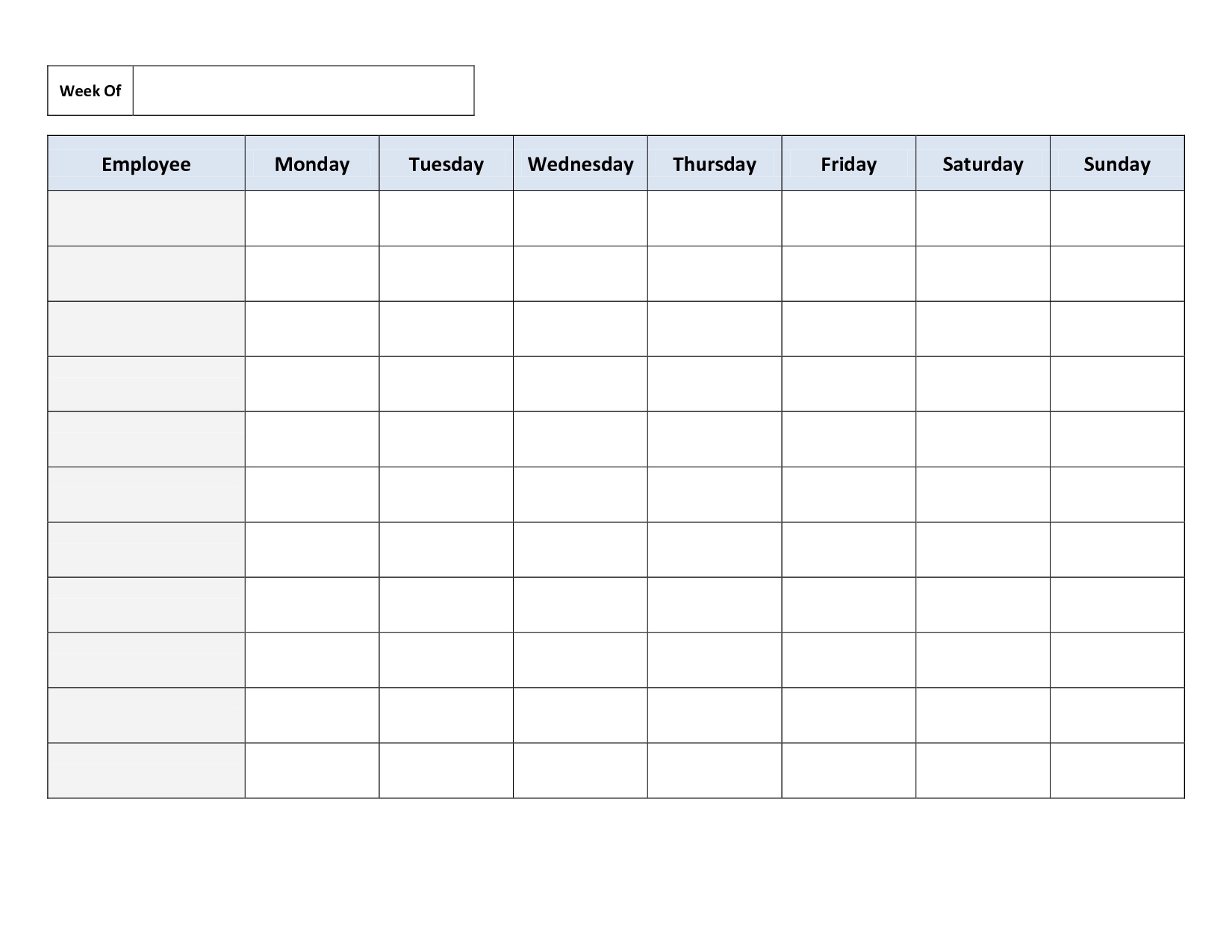 Weekly Work Schedule Template | bravebtr