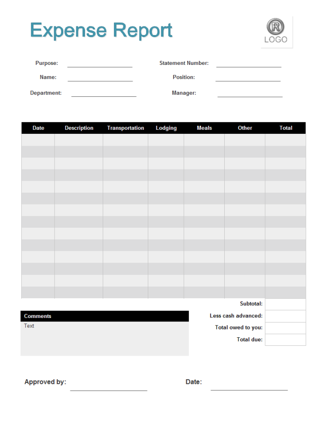 10+ free printable expense reports templates | Lease Template