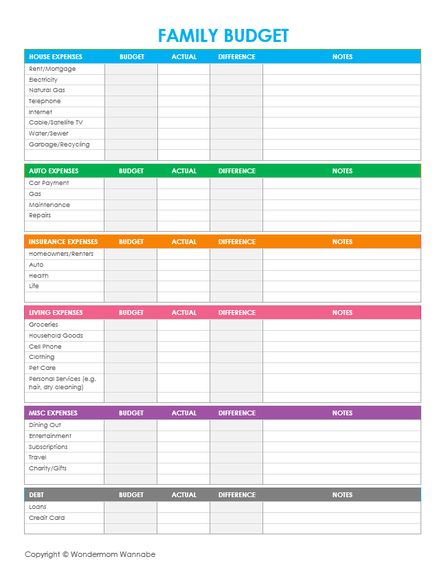 Free Printable Family Budget Worksheets | Freebies, Deals