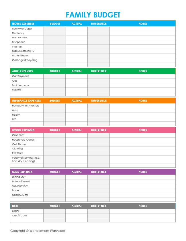 Family Budget Amazing Free Printable Budget Templates   Collection