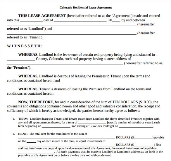Colorado Residential Lease Agreement | gtld world congress
