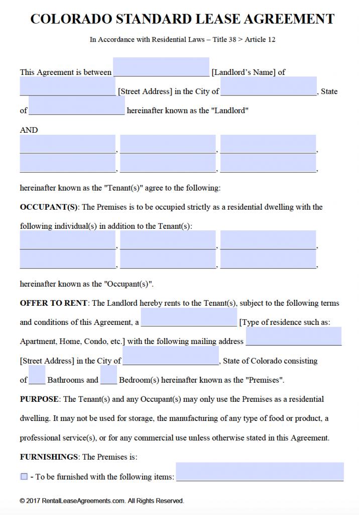 Sample Lease Agreement Colorado   Metierlink.com