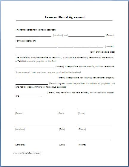 Printable Blank Lease Agreement   Metierlink.com