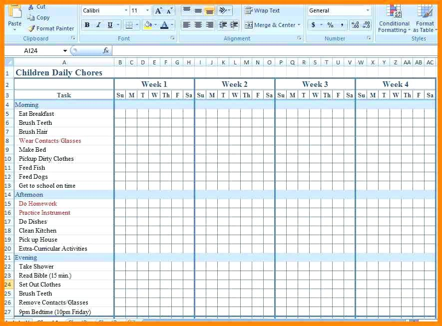 Chore Chart Template   6 Free PDF, Word Documents Download | Free