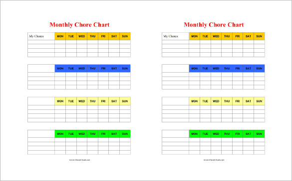 editable chore charts | Printable Monthly Chore Chart with Pastel