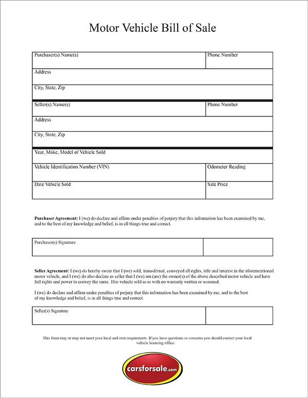 Free Printable Motor Vehicle Bill Of Sale