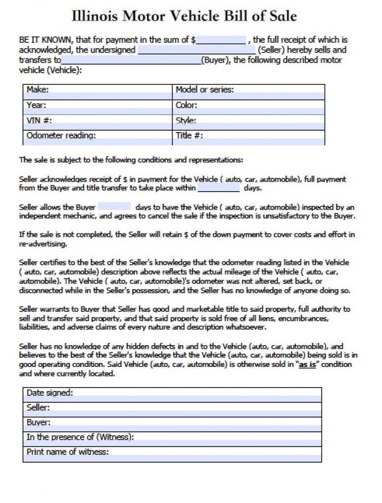 Free Illinois Motor Vehicle (Secretary of State) Bill of Sale Form