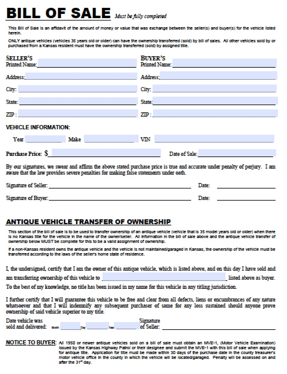 Motor Vehicle Bill Sale Form | Bill of Sale Form | Free Bill of