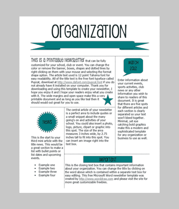 Free Printable Newsletters | newsletter templates |email