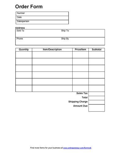 Sales Order Form | Order form | Pinterest | Order form, Order form