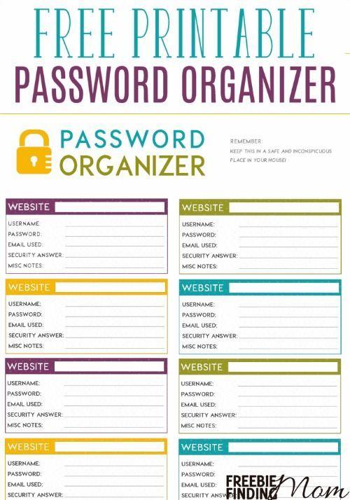 FREE Printable Password Organizer | Thrifty Thursday @ LWSL