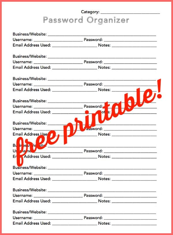 Free Printable Password Organizer