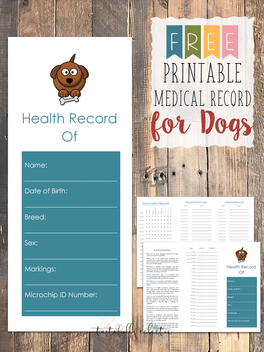 printable dog shot record forms | Dog shot Record | Pinterest