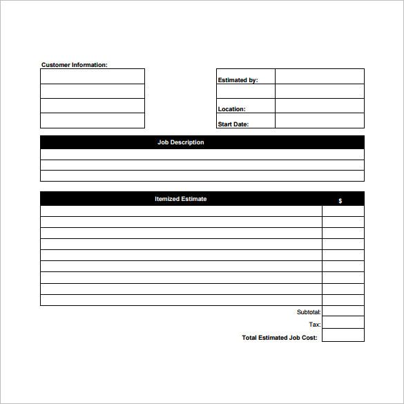 Printable Estimate Template Blank Estimate Form Template Blank