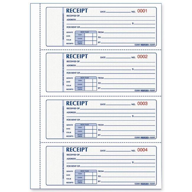 free printable receipts | Rediform Rent Receipt Book   Quickship