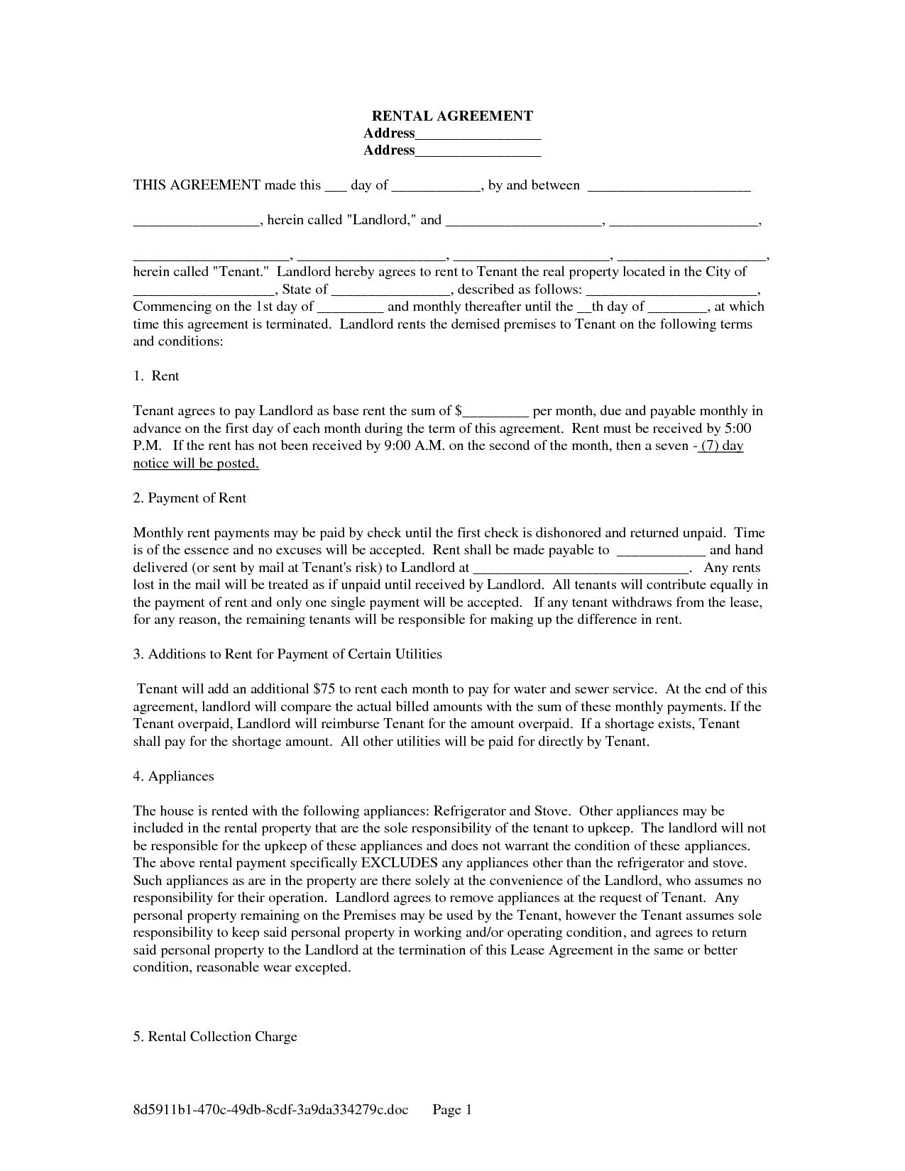 Basic Rental Lease Agreement Filename | down town ken more