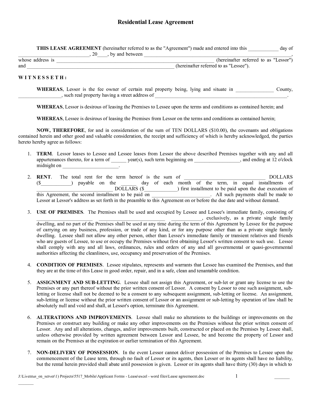 Free Copy Rental Lease Agreement | Free Printable Lease Agreement