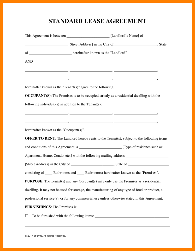 Free Printable Lease Agreement.Standard Residential Lease