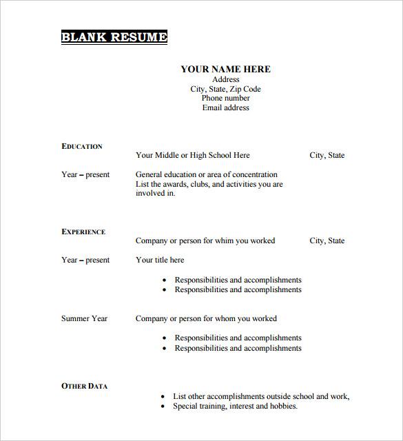 46+ Blank Resume Templates   DOC, PDF | Free & Premium Templates