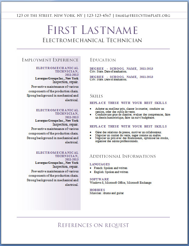 free professional resume templates download | Good to know