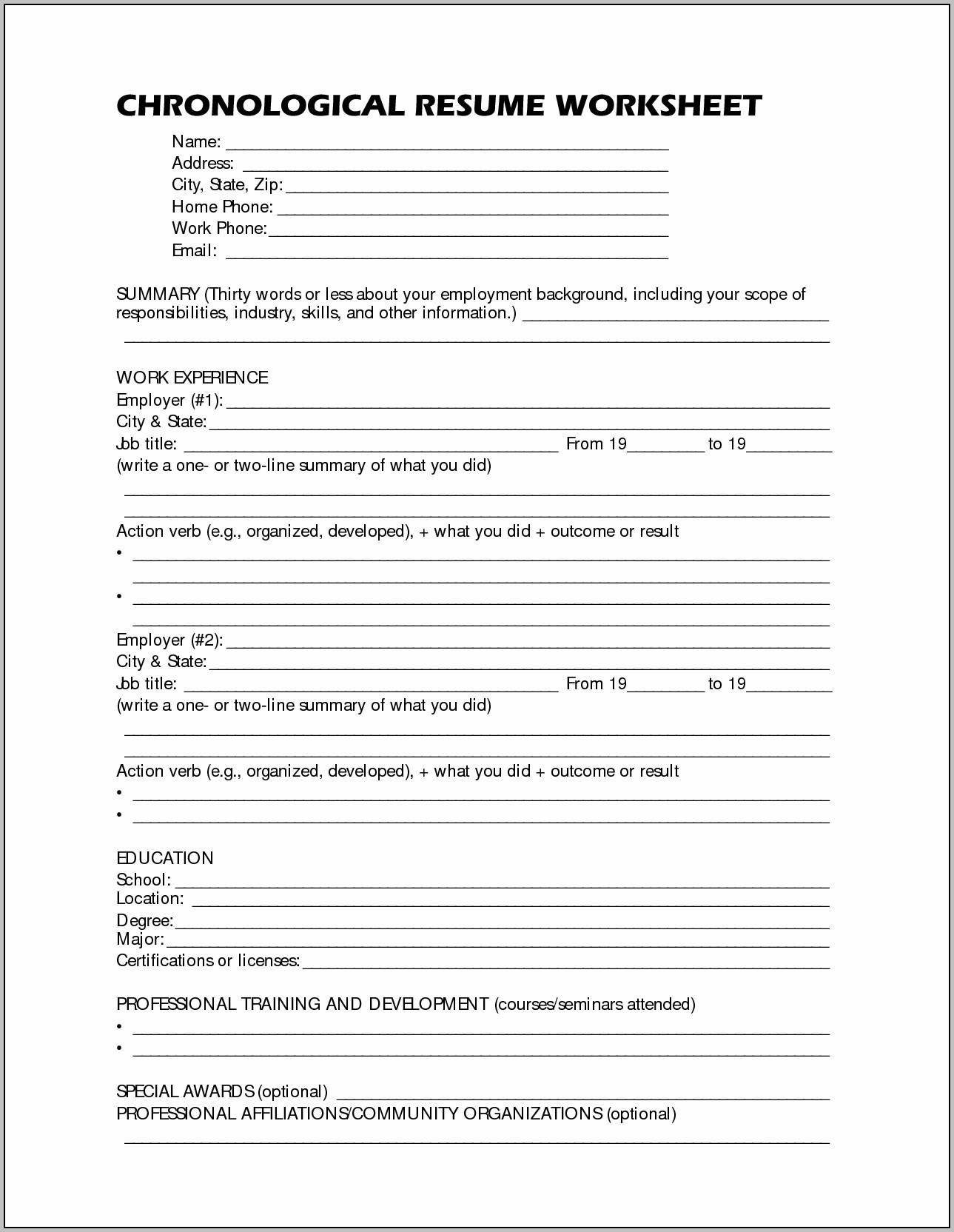 Free Printable Resume Worksheet   Resume : Resume Examples #8PKxvX6kv0