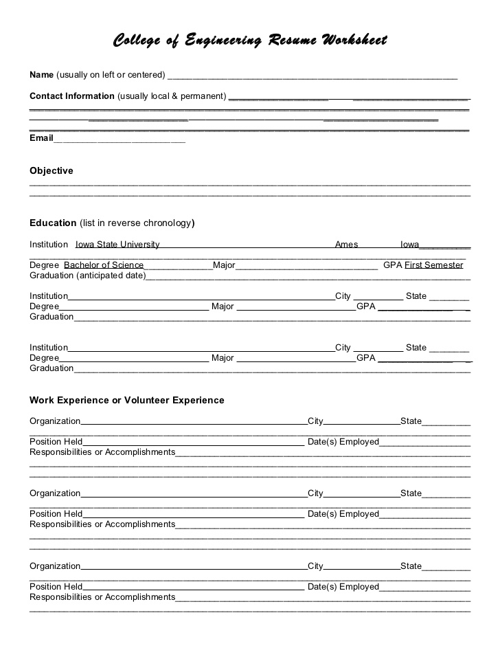 resume worksheet   Demire.agdiffusion.com