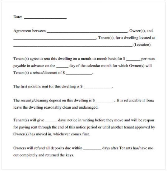 Simple Blank Rental Agreement Free Printable Lease Agreement