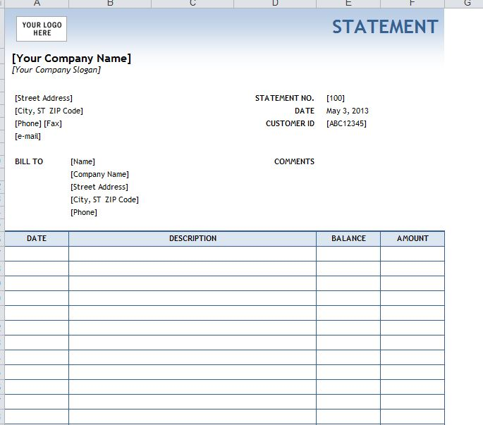 Free Printable Personal Financial Statement | Blank Personal