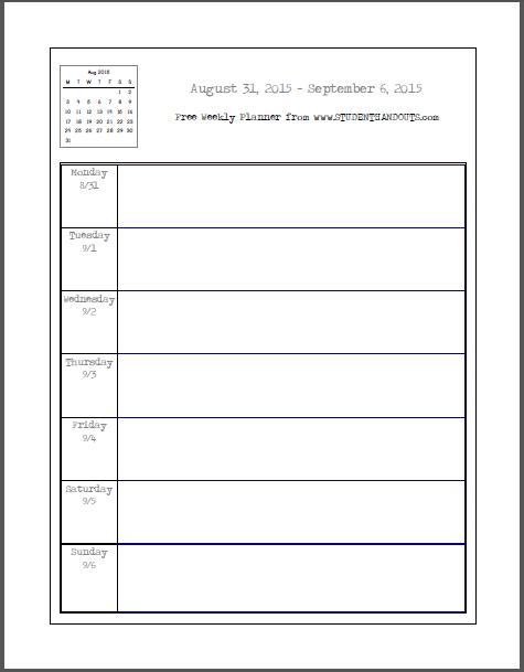Free Blank Printable Weekly School Planner | Student Handouts