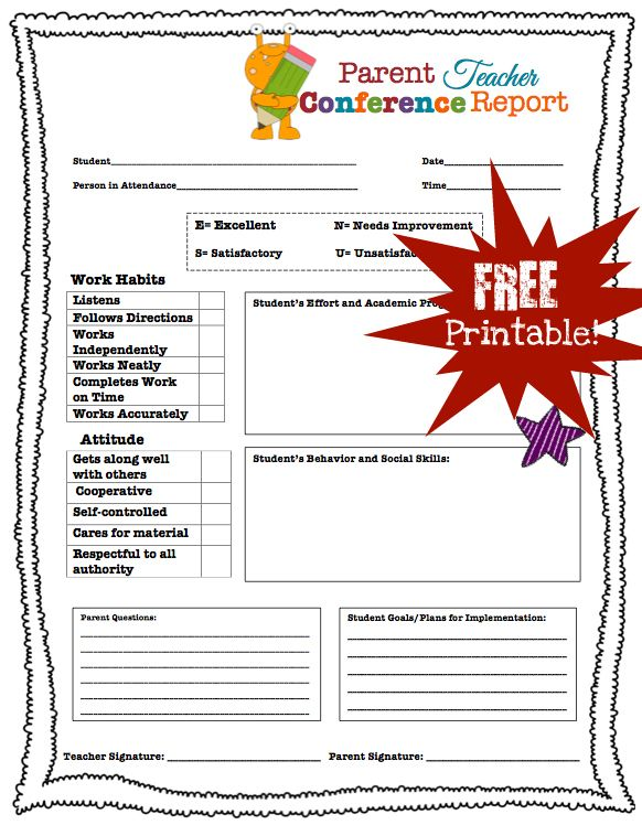 Parent Teacher Conference Printables | Parent Teacher Conference