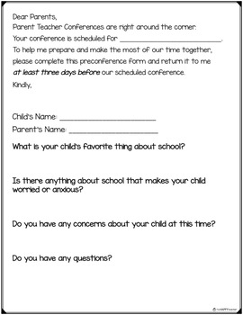 Preconference Form for Parent Teacher Conferences FREE PRINTABLE