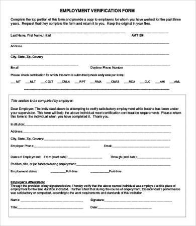 Employment Verification Form   12+ Free Word, PDF Documents