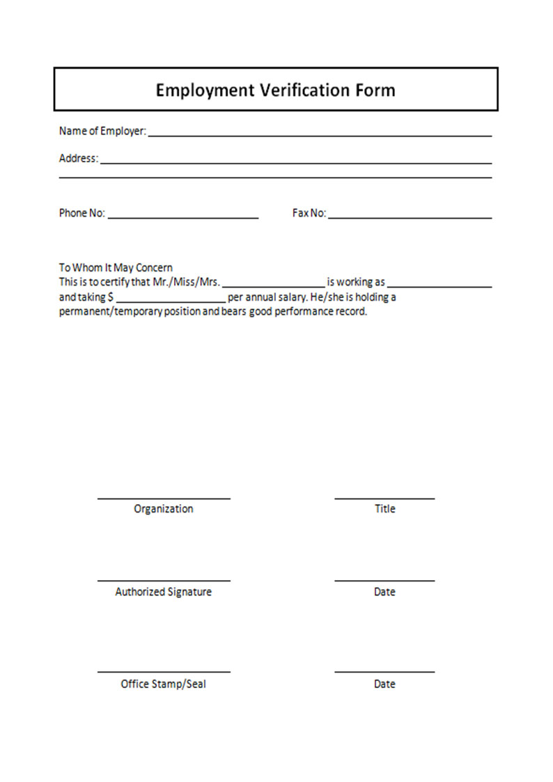 Verification Of Employment Form Free Download M Amazing Templates