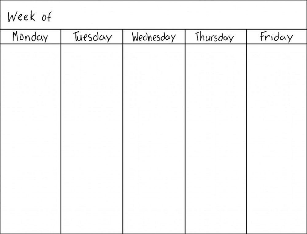 Free Weekly Blank Calendar Template – Printable Blank Yearly Calendars