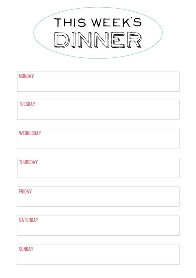 Printable Menu Template   to make the planning of next week's