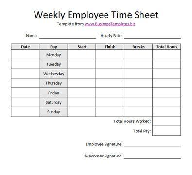 Free Printable Timesheet Templates | Free Weekly Employee Time