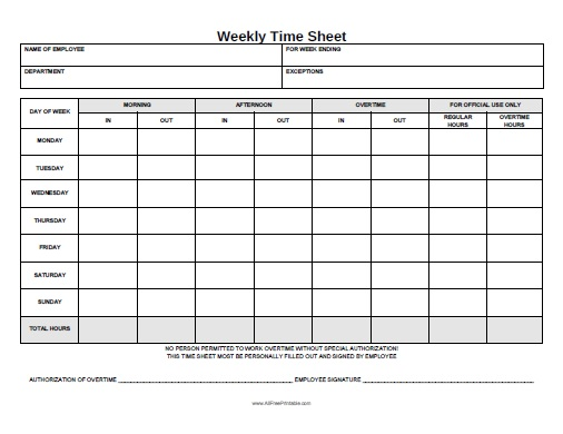 Weekly Time Sheet   Free Printable   AllFreePrintable.com