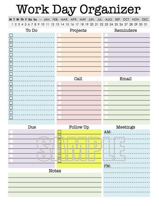 Work Day Organizer   planner page, work planner, printable planner