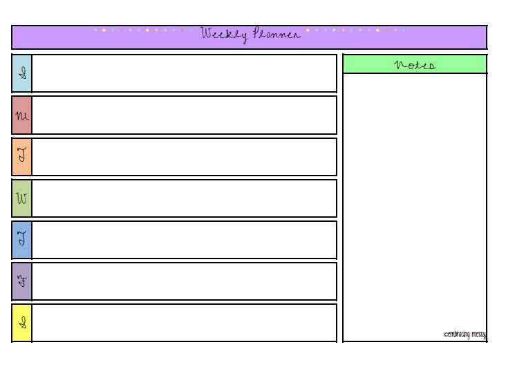 Free Printable Friday} | Weekly Planner