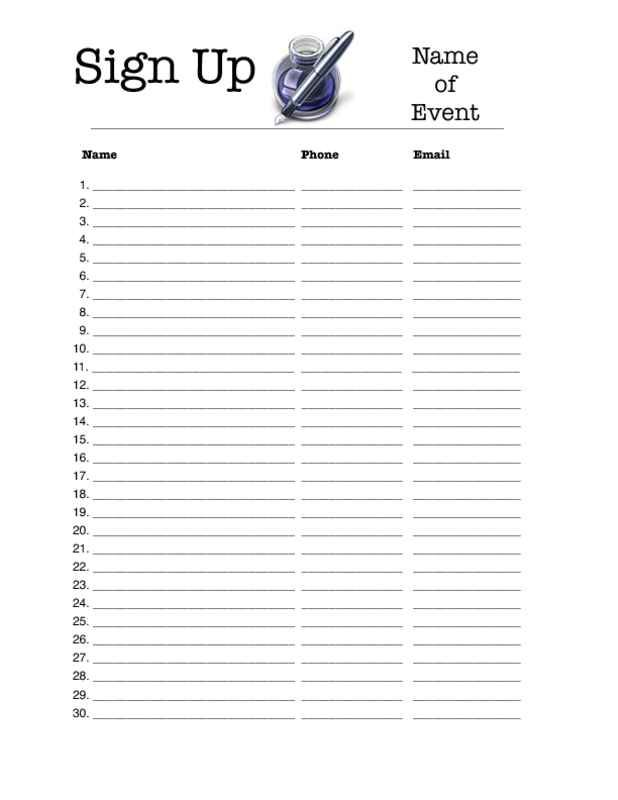 Sign Up Sheet Template   When employing a template, all you will