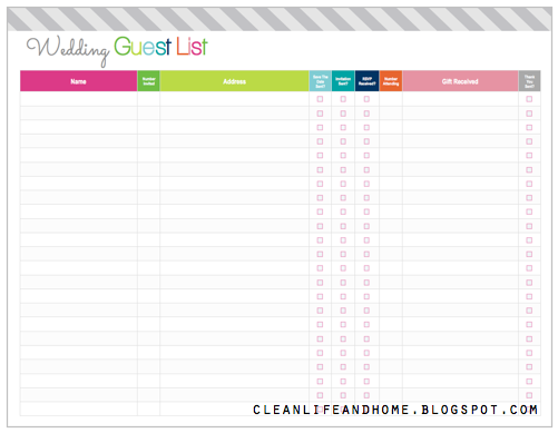 free printable wedding guest list organizer   Demire.agdiffusion.com