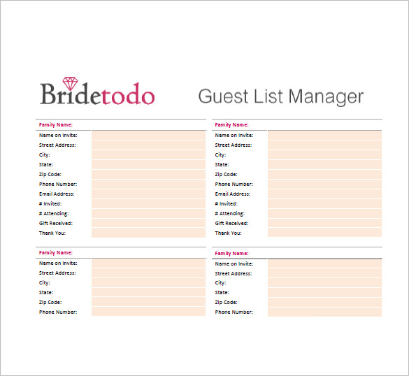 Wedding Guest List Template – 10+ Free Word, Excel, PDF Format
