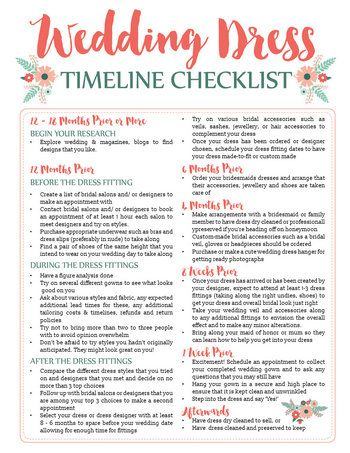 Wedding Dress Planning Timeline Printable Download | {wedding